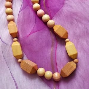 """Boho chunky wooden beads necklace tan 28"""" long"""